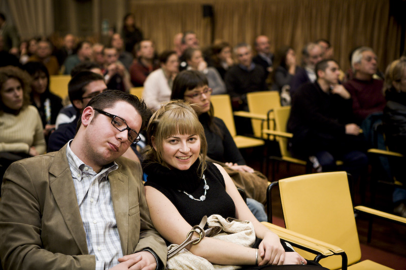 I due autori durante la presentazione alla sala dei paesaggi presso la villa ghirlanda di Cinisello Balsamo